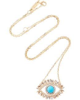 18k Gold, Diamond And Turquoise Eye Necklace