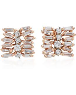 Small Post 18k Rose Gold Diamond Earrings
