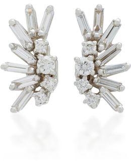 Post 18k White Gold Diamond Earrings