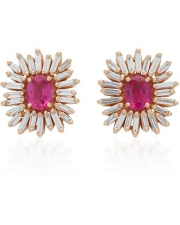 One Of A Kind 18k Rose Gold Ruby And Diamond Earrings
