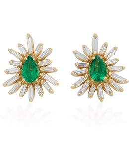 One Of A Kind 18k Gold, Emerald And Diamond Earrings