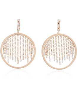 18k Rose Gold And Diamond Hoop Earrings