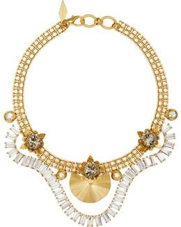 18k Gold-plated Draped Crystal Baguette Necklace
