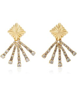 18k Gold-plated Scalloped Crystal Earrings