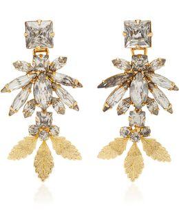 18k Gold Triple Leaf Crystal Earrings