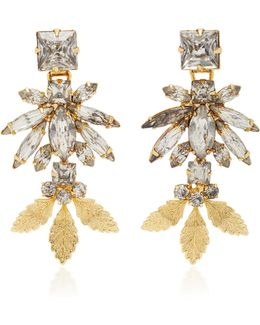 18k Gold Triple Leaf Crystal Earrings