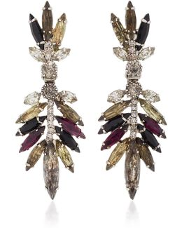 Multicolored Feather Crystal Earrings