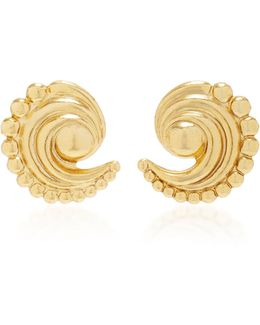 18k Gold-plated Swirled Crescent Metal Earrings