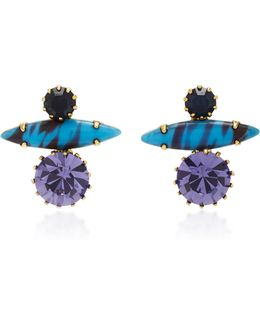 18k Gold-plated Stacked Crystal Earrings