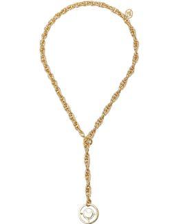 Prodigiam Gold-tone Medallion Lariat Necklace