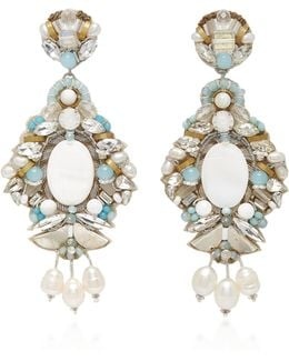 M'o Exclusive White Fringe And Mother Of Pearl Hoop Drop Earring