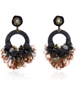 Black Hoop Drop Earrings
