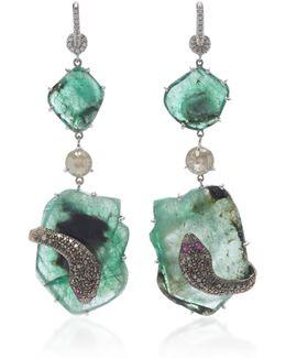 18k White Gold, Emerald And Diamond Earrings