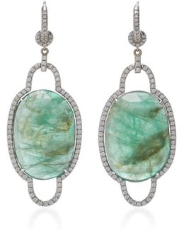 18k White Gold, Emerald And Diamond Pave Earrings