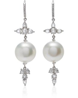 18k White Gold, Baroque Pearl And Diamond Earrings