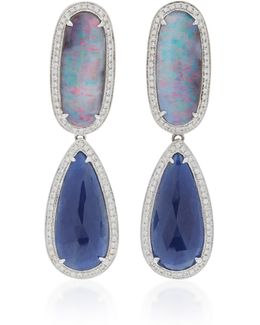 14k White Gold, Diamond, Boulder Opal And Blue Sapphire Earrings