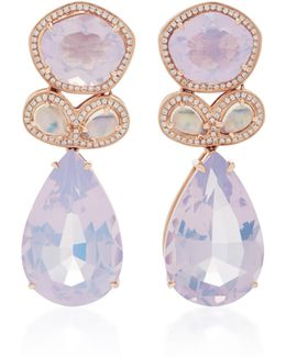 14k Rose Gold Moonstone And Lavender Amethyst Earrings