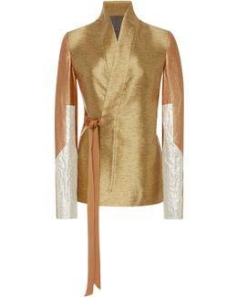 Metallic Shawl Collar Wrap Jacket