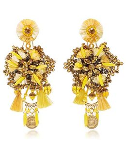 Yellow Flower Earrings With Vintage Coin Drops