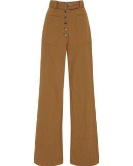 Linen And Silk-blend Twill Wide-leg Pants