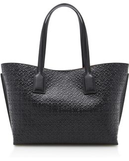 T Shopper Embossed Leather Tote
