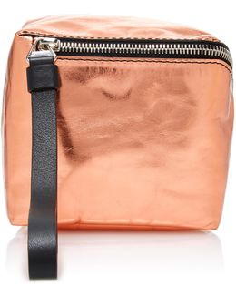 Mini Cube Metallic Leather Bag