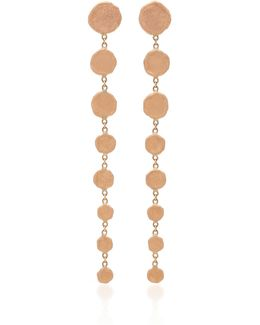 Rose Gold 8 Graduated Hammered Disc Drop Earrings