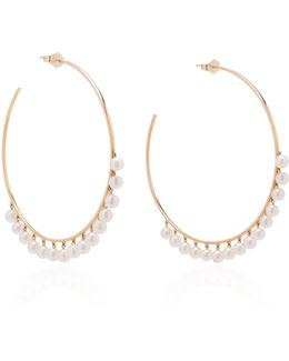 Pearl Drop Large Hoops