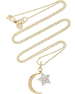 Yellow Gold Moon & White Gold Star Charm