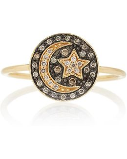 Pave Small Moon & Star Medallion Ring