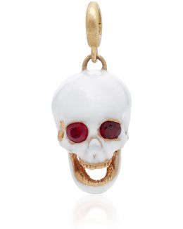 White Medium Enamel Skull Charm With Moveable Jaw And Gemfields Ruby Eyes