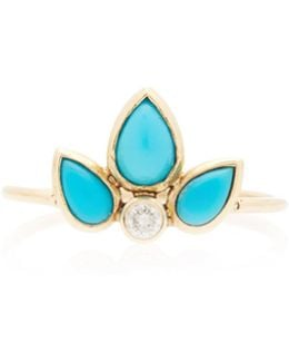 Turquoise Tear And Diamond Ring