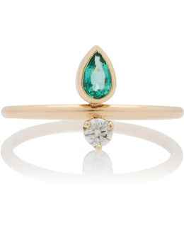 Pear Shaped Gemfields Emerald And Diamond Ring
