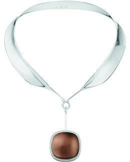 Exclusive To M'o: Vivianna Dew Drop Neck Ring And Smokey Quartz Pendant With Diamond