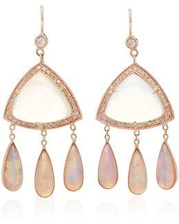 Diamond, Moonstone Triangle And Opal Teardrop Earrings
