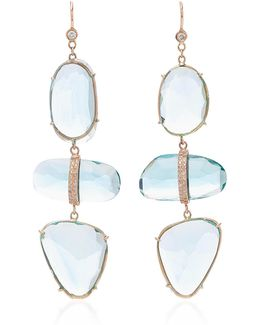 Aquamarine 3 Step Earrings