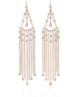 Diamond Teardrop Chain Shower Earrings