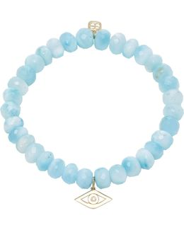 Single Stone Evil Eye Charm On Faceted Larimar Beads
