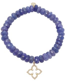 Micro Pave Moroccan Star Charm On Faceted Blue Tanzanite Beads