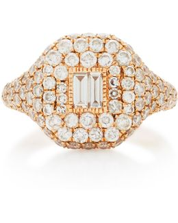 Pave Pinky Ring With Baguette Diamond Center