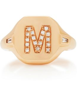 Initial Pinky Ring With Side Diamond Accent