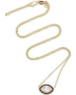 Single Diamond Enamel Marquise Necklace