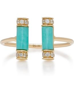 Double Turquoise Roll Ring