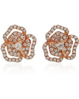 Xs Pave Flower With Line Earrings