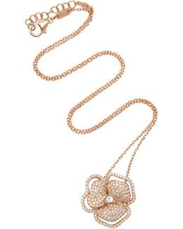 Pave Flower With Line Necklace