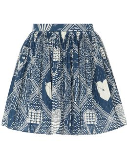 Poplin Heart Print Skirt