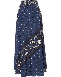 Poplin Bandana Print Midi Skirt