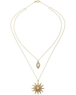 Antique Diamond, Opal, And Pearl Sunshine Necklace