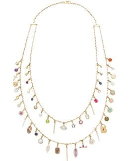 Antique Diamond And Gemstone Charms Necklace