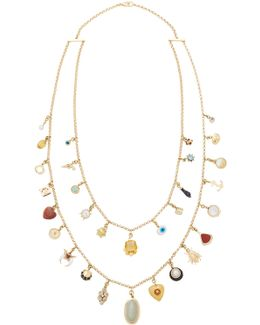 Antique Gold, Gemstone, And Diamond Charm Necklace